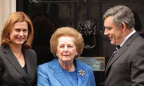 Lady Thatcher at 10 Downing Street with Gordon and Sarah Brown on 23 November 2009.