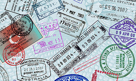 Passport page stamps