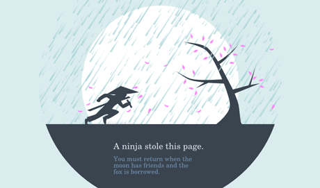 Ninja 404 page from the Huwshimi blog