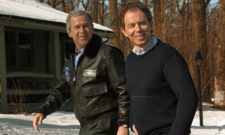George Bush and Tony Blair at Camp David in 2001