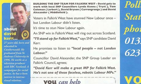 Detail from David Kerr's 2000 Falkirk byelection leaflet.