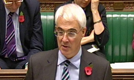 Alistair Darling speaks to the House of Commons on 3 November 2009.
