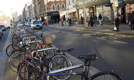 Bike blog : Chained up bicycles on Kensington High Street, London