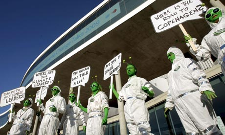 AVAAZ activists in a performance outside Meeting on Climate Change, Barcelona, Spain, 6 Nov 2009