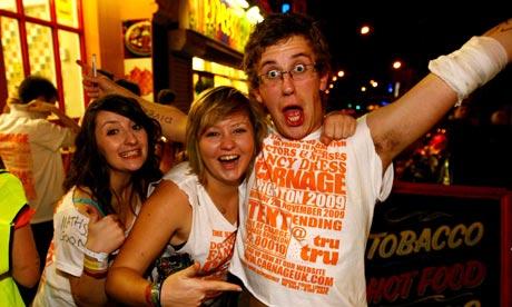 University of Brighton students enjoy the Carnage UK pub crawl