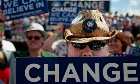 Obama supporters at a rally in Mitchell, South Dakota