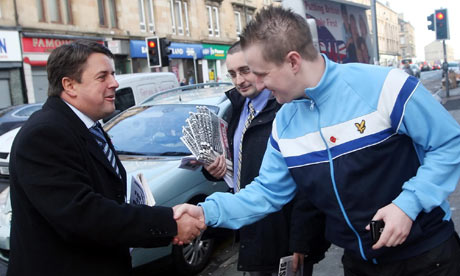 Nick Griffin meets a member of the public on the campaign trail Glasgow North East 9 November 2009