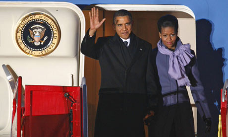 President Barack Obama lands in Norway to accept his Nobel Peace Prize