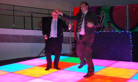 Boris Johnson dancing with Darren Johnson.