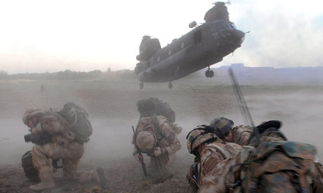 A Chinook helicopter lands in Afghanistan