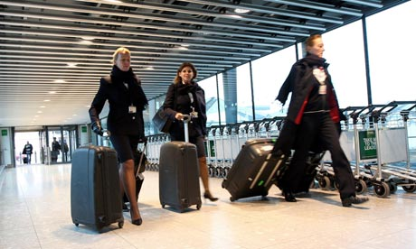 BA cabin crew on their way to work at Heathrow