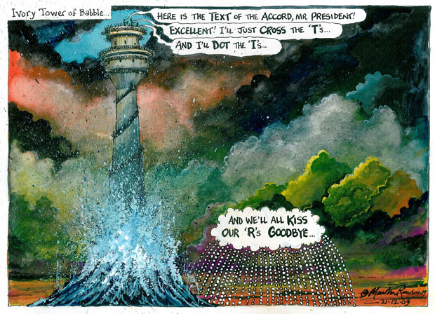 Ivory Tower of Babble, a cartoon by Martin Rowson