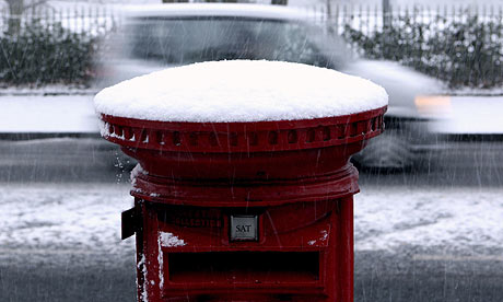 A postbox covered in snow in Belfast