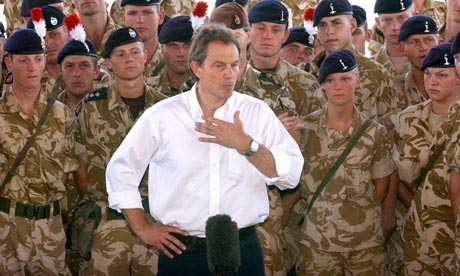 Tony Blair addresses British troops in Basra