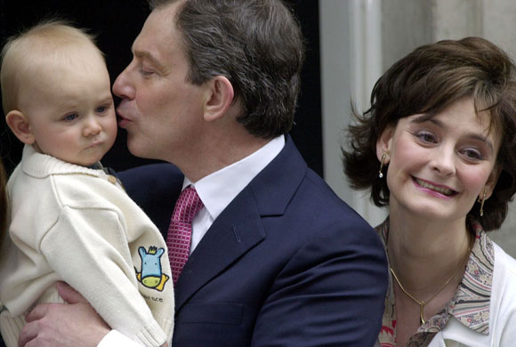 Pictures of the Decade: 8 June 2001: Prime Minister Tony Blair kisses his son Leo