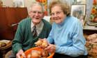 Charlie and Mabel Northam with their onions in Montacute