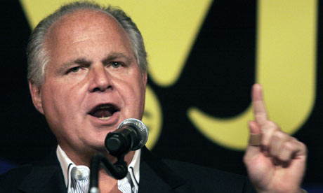 Rush Limbaugh gives a speech in Michigan