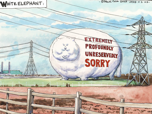 Steve Bell Cartoon - White Elephant - We're sorry say bankers. Well, sort of