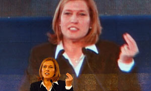 Israeli foreign minister Tzipi Livni claims victory in the general election