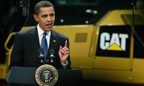 President Obama Visits Caterpillar Factory In Illinois
