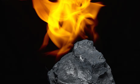Chunk of coal on fire