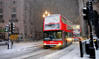 Travel chaos as snow hits central London early this morning
