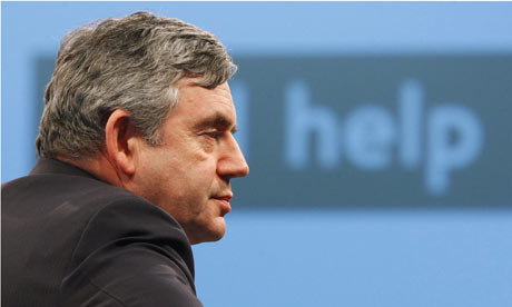 Gordon Brown addresses a forum at the Western docks in Southampton