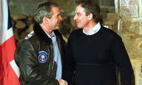 US President George W Bush, left, and British Prime Minister Tony Blair in 2001.