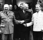 Winston Churchill, left, Harry S Truman and Josef Stalin in 1945.