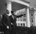 President John F Kennedy with British Prime Minister Harold MacMillan at the White House in 1961.