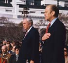 Gerald Ford and Harold Wilson outside the White House in 1975.