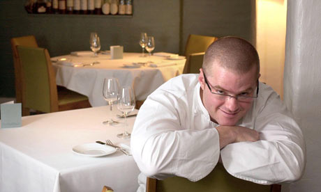 fat people with glasses. Heston Blumenthal in his restaurant The Fat Duck