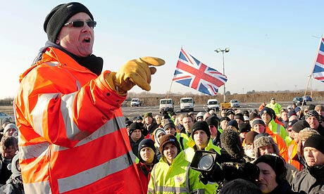 A union official addresses protesters outside the Lindsey oil refinery