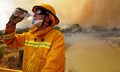 Australia wildfires A Country Fire Authority firefighter takes a break while