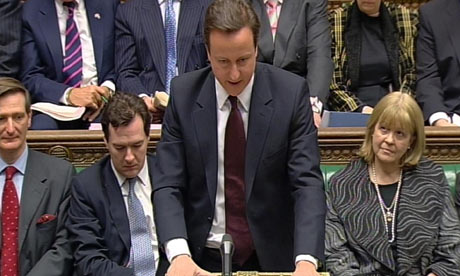 Conservative party leader David Cameron speaks during Prime Minister's Questions
