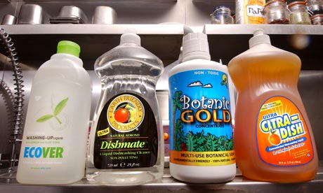 Environmentally-friendly washing up liquids including Ecover