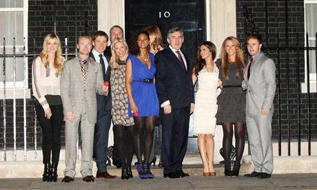 Gordon Brown meets a group of celebrities who climbed Mount Kilimanjaro in aid of Comic Relief.