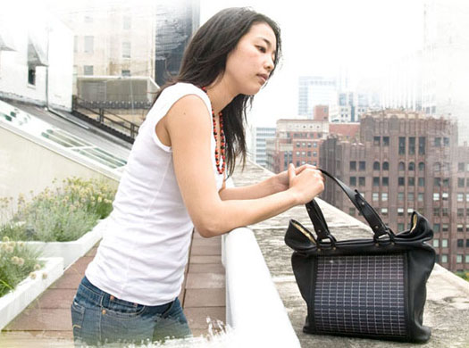 Solar clothing: A flexible solar panel into the body of each handbag