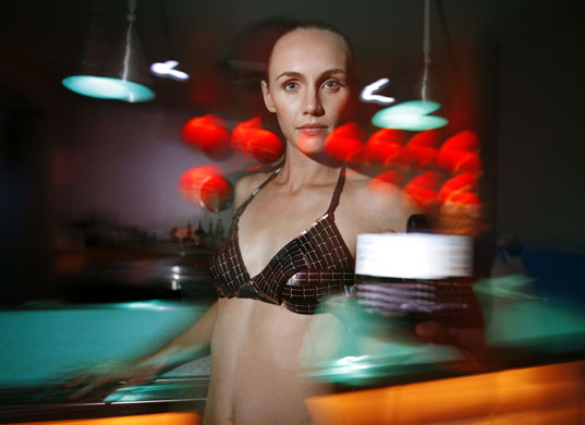 Solar clothing: Model Danielle Simmons wears a solar bikini, designed by Andrew Schneider