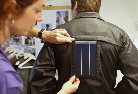 Solar clothing: A model wears a jacket with an integrated solar module in Buenos Aires