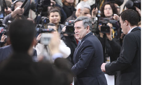 Gordon Brown at the EU Council building in Brussels