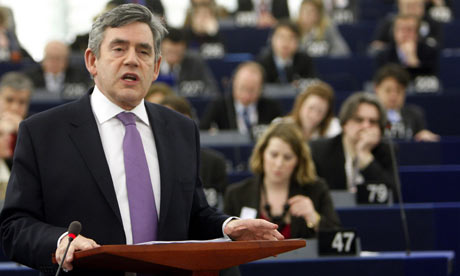 Gordon Brown speaks to the European parliament in Strasbourg on March 24 2009.