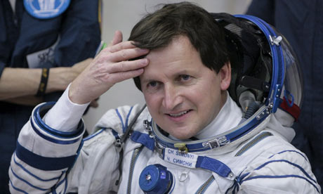 US space tourist Charles Simonyi during the pre-launch preparations at Baikonur.