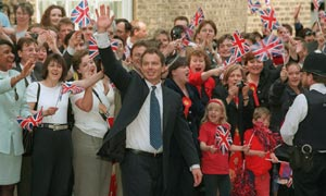 Tony Blair Arriving At 10 Downing Street After Labour Election Victory in May 1997