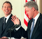 US President Bill Clinton  and Tony Blair at a press conference in 1998.