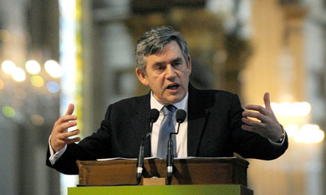 Gordon Brown speaking at St Paul's Cathedral on 31 March 2009.