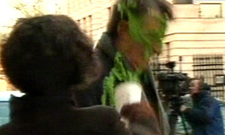 Climate change protester throws cup of green slime over Peter Mandelson