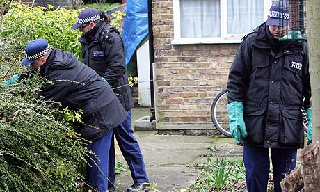 Police at the scene of the suspected homophobic murder in Bromley