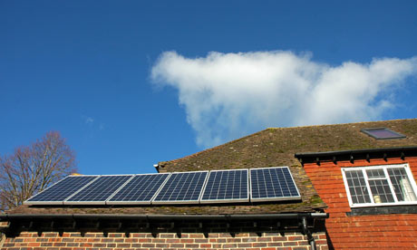 Solar panels newly installed on the roof of a residential house