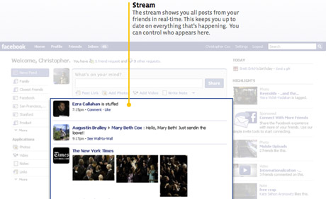 The newsfeed, or stream, is central to the new design